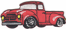PICK-UP TRUCK,RED- VEHICLE - TRUCKS - VINTAGE/Iron On Embroidered Applique Patch