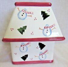 WAXCESSORIES Medium Square Jar Candle Holder w/Shade, Snowman, Snowmen, Ceramic