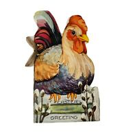 Vintage Easter Die Cut Card Greeting Rooster Chicken Story Booklet Made In USA
