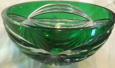 Vintage Cut Lead Crystal Emerald Green /Clear Fruit Salad Bowl*