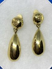 vintage Signed Givenchy Gold Drop Dangle Clip On Earrings