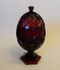 Cris D'Arques Durand Ruby Red Pressed Glass Compote Candy Dish BOWL Luminarc Arc