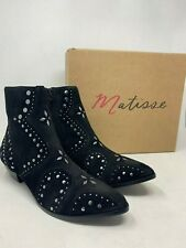 NIB $195 Matisse Womens Kirin Black Suede Studded Almond-Toe Booties Size US 10