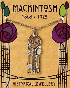 Charles Rennie Mackintosh Pewter Rose & Ladder Pendant On A Chain