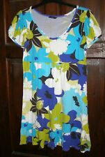 Short Blue and Green Floral T Shirt Dress - Size 12