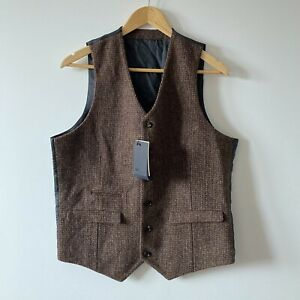 "Harris Tweed waistcoat Asos size 42"" chest brown wool vest sleeveless XL 40s"