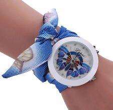 Armbanduhr Damenuhr Uhr Wickelarmband Armband Strass Glitzer blau weiß
