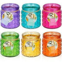 3 6 Assorted Coloured Citronella Scented Candles in Glass Holders Tealight Gift