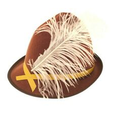 BAVARIA OKTOBERFEST HAT DELUXE BROWN HAT WITH FEATHER UNISEX FANCY DRESS PARTY