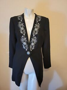 D By Double D Ranchwear Womens Black Wool Floral Embroidered Single Button Coat