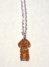 Brown POODLE Charm Necklace Enamel Dog Pendant Puppy Women Kids