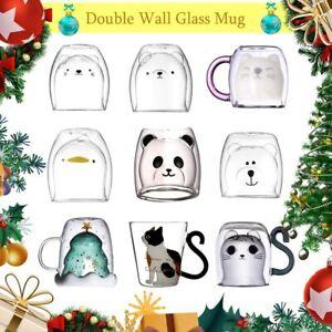 Creative Cute Bear Coffee Mug Double Glass Cup Carton INS Animal Milk Juice