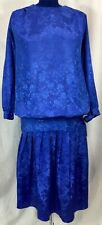 VTG 80s Blue Maternity 2PC Set Top 10 Pleated Skirt 12 Embossed Floral Print 90s