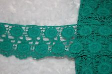 "$1.50 yard Emerald Green Cotton VENISE embroidered Victorian Trim lace 2.5"" wide"