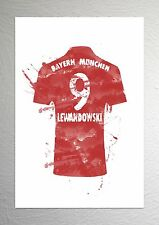 Robert Lewandowski-BAYERN MONACO FOOTBALL SHIRT ART-Effetto Splash-Taglia A4