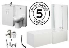 1700 L Shower Bath 600 Vanity Unit 500x200 BTW Taps & Wastes Bathroom Suite R/H