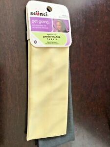 "Scunci Get Going 2.5"" wide Performance Fabric Headbands, 2 pcs pack, Yellow"