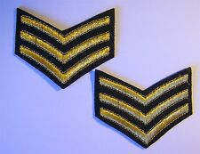 Sergeant Stripes Iron On Embroidered Patches - Decor Badge x 2 - 7cm