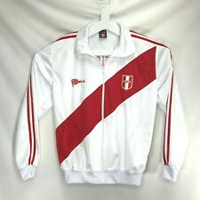 Peru FPF Soccer Team Jacket Football Home White Red Embroidery Mens Size Medium