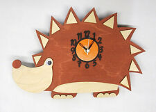HEDGEHOG WOODEN CHILDRENS / KITCHEN WALL CLOCK WITH PENDULUM.NEW & BOXED.WOOD