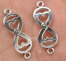 30PCS TIBETAN SILVER Twisted Eight Infinite Sign Number 8 connections 36mm A3388