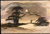 Moonlight Vintage Antique Asian Style Painting Oriental Abstract wall Art Signed