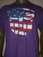 New Men's Lg Purple Transformers Autobots US Flag Robot Face Symbol Logo Shirt