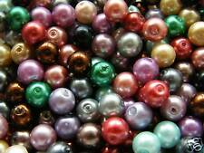 75pcs 8mm Round Glass Pearls - Mixed Colours
