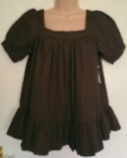 'OLD NAVY' CHOCOLATE BROWN COTTON SHORT SLEEVE MATERNITY SMOCK TOP SIZE 8-16