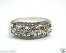 Antique Diamond Wedding Band Ring 18K White Gold Ring Size 5.25 EGL USA Vintage