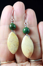 V.PRETTY CREAM FOSSIL CORAL & GREEN TURQUOISE STERLING SILVER EARRINGS
