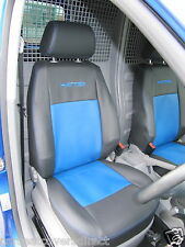 VW Caddy Van Genuine Fit Tailored Seat Covers - Black with Blue and Logos