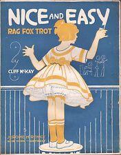 NICE AND EASY RAG ragtime fox-trot CLIFF MCKAY art deco SCHOOL GIRL Detroit 1916