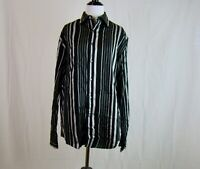 Axist City Dressing Men's Black Gray Long Sleeve Striped Button Front - Size S