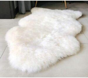 Real Sheepskin Rug Bedroom Rug 2X3 Ft Ivory Animal Fur Rugs Bear Area Rugs Chair