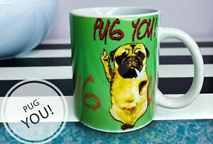 Cute Pug You Gift coffee Mug Present Dog Lover Mops with Weed cannabis joint