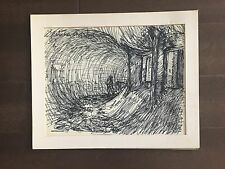 "Fletcher Martin artist (1904-1979)-Drawing-  Ink on Paper - Signed (13"" x 16"")"