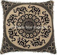 Indian Elephant Euro Sham Cushion Cover 26x26 Boho Mandala Tapestry Pillow Case