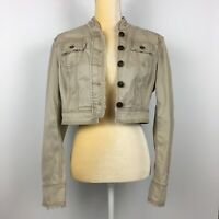 Nobo No Boundaries Juniors L 11-13 Cropped Tan Beige Denim Jacket Frayed Stretch