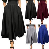 Ladies Women High Waist Pleated A Line Long Skirt Front Slit Belted Maxi Skirt