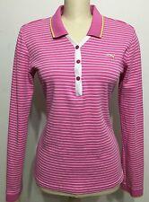 Puma Women Pink Stripe Botton Down Long Sleeve Shirt Sz XL