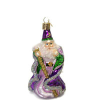 Old World Christmas Blown glass purple wizard Santa ornament Christmas tree
