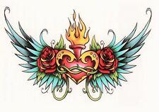 Temporary Tattoo, Einmal Tattoo,Traditional BTT2, 2-10, Herz mit Flügeln & Rosen