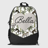 Personalised Tropical Monkey Sloth Boys Kids Children's School Bag Backpack
