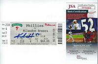 BREWERS Keston Hiura signed MLB Debut ticket JSA COA AUTO 5-14-19 May 14 2019