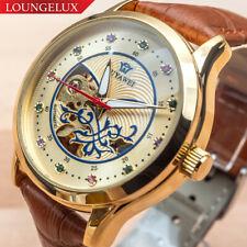 Women Flywheel Leather Quality Luxury Bling Skeleton Automatic Mechanical Watch
