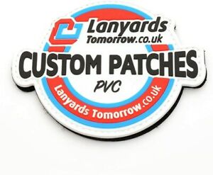 Personalised PVC Name Logo Patches Sew Iron On Badge Tag Hat Jeans Club Biker UK