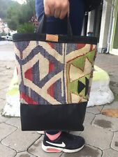Kilim TurkishEthnic Unique Tote Bag Leather SHOPPING BAG - Handmade