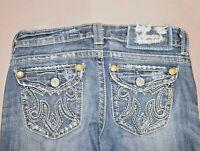 MEK Denim OAXACA Distressed Embellished Dark Wash BootCut Womens Jeans Sz 26x34