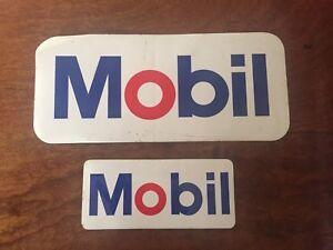 MOBIL  1980'S VINTAGE STICKERS(2) 1 X 120 X 50MM, 1 X 205X 90MM